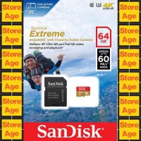 SanDisk Extreme MicroSDXC UHS-I Card 64 GB For Action Cam 60Mb / S 4K