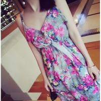 harga baju long dress korea chiffon floral bunga flower pantai pesta import Tokopedia.com