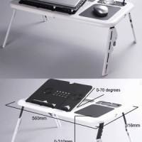 Meja Laptop Portable Komputer Desk With Fan Cooler Computer Fan Travel