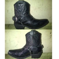 Sepatu Boot Junggle Touring Adventure Hitam Full Black