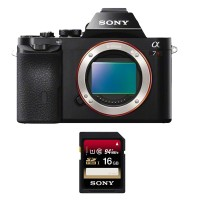 Sony Alpha ILCE 7R Body Only - Hitam + Sony SDHC UHS-1 16Gb 94mb / S