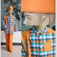 Baju Koko Anak Aliando Orange ( Size S )