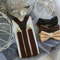 Jual suspender coklat tua dan bowtie dasi kupu Murah