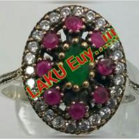 harga Bkn Bacan - CINCIN NATURAL RUBY-EMERALD-TOPAZ TURKISH STYLE SILVER 925 Tokopedia.com