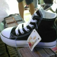 sepatu sekolah converse allstar hitam putih anak kids high ready