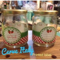 HOT cerve Italy Mason Jar Red miss marry toples PRINTED LABEL vintage