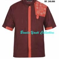 Baju Koko Pakaian Muslim Zeintin - HN 7123 MERAH MAROON - Bunda Yanti