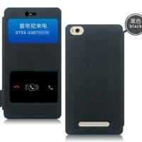 [black] Pudini Double Window Flip Leather Case For Xiaomi Mi 4i - Mi4i
