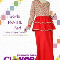 Gamis Dress Clover Clothing Gamis Pevita Red Size S M L XL