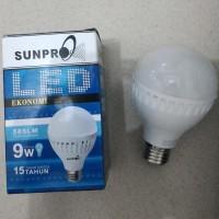 Lampu LED SunPro 9 Watt Cahaya Terang Sejuk Adem Putih Hemat Energi