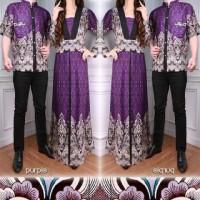 Arina Couple (Kemeja Pria, Long Dress Wanita, Batik Katun Rayon Ungu)