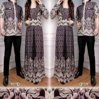 Arisa Couple (Kemeja Pria, Long Dress Wanita, Batik Katun Rayon Abu)