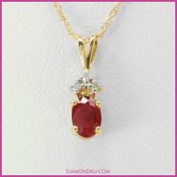 Liontin Emas Kuning 9 Karat dengan Berlian Asli dan Permata Ruby