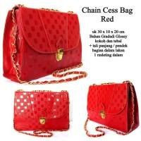 tas wanita chain cess bag glosy merah