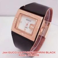 CL02 B Jam Tangan Wanita Gucci Leather Syahrini Black Kulit GCL02B