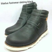 Sepatu Boot Bladus Sleting Black Hitam Kulit