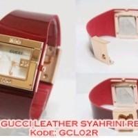 Gcl02 R Jam Tangan Wanita Gucci Leather Syahrini Kulit Red Gcl02r