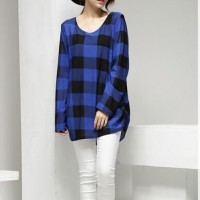 Blue Plaid Blouse-217968
