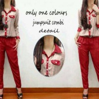 Jumpsuit Kombi Two Tone Merah ( Red ) AT10945