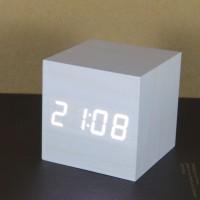 Wooden Digital Clock Mini Cube White (Jam Meja Kayu Unik)