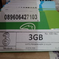 PERDANA THREE AON 3GB + PULSA 5000
