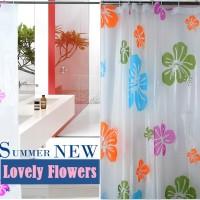 Shower Curtain atau Tirai Kamar Mandi - Motif Bunga
