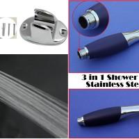 harga 3 In 1 Set - Kepala Shower Pipih - Shower Hose Stainless Steel 1,5 M Tokopedia.com