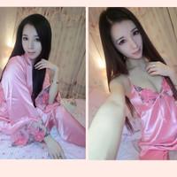 Limited 3 Pieces Baju Tidur Satin Pajamas Set Pink Rouhe