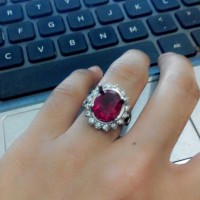 harga Cincin Wanita Batu Merah Delima Siam Cutting Tokopedia.com