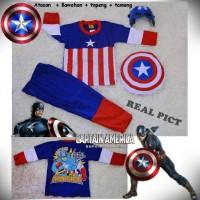 Kostum Captain America Free Topeng dan Tameng