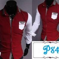 Harga p84 kemeja hem merah maroon putih slim fit bisa modif size   antitipu.com