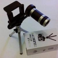 Lensa Tele zoom 8x + Tripod Mini + Holder