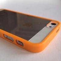 IPHONE 5 5S ACRYLIC JELLY DOFF SOFT HARD CASE CASING COVER ORANGE