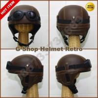 Helm Retro Jadul Chips Cokelat (vespa,cb,ulung)
