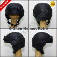 Helm Retro Jadul Chips Hitam (vespa,cb,ulung)