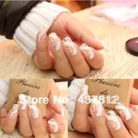 White lace nail sticker / stiker kuku model renda
