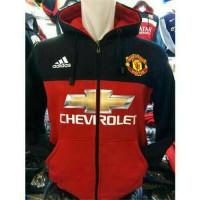 Hoodie Zipper Manchester United Chevrolet Hitam-Merah