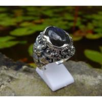 Cincin Perak Motif Ukiran Bali Patra Batu Labradorite