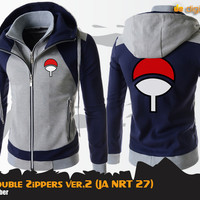 JUAL Uchiha Double Zippers Hoodie (Jaket Anime Naruto - JA NRT 27)