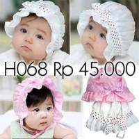 Jual H068 Baby hat Headband beanie Topi bayi anak balita princess dot satin Murah