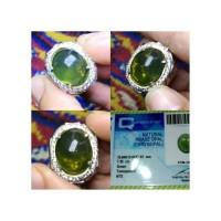 natural prase opal chrysopal ( fire opal ) wonogiri HQ ring perak
