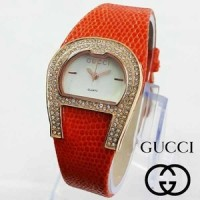 Jam Tangan Wanita / Cewek Gucci Kulit / Leather - Orange