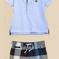 Baju Anak - Burberry Set Blue (BO-385)