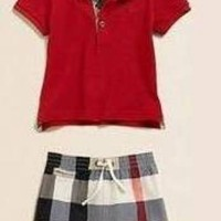 Baju Anak - Burberry Set Red (BO-385)