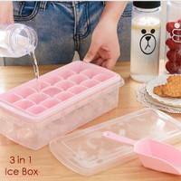 3in1 Ice Box (isi cetakan es, kotak utk tempat es batu, serokan es)
