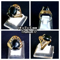 Jual Cincin Wanita Batu Giok Black Sojol + Ring TITANIUM Murah