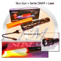 Stungun JL-1158 + Laser + Senter Police Swat 3 Mode Nyala (Stun gun / Senjata Kejut Listrik / Alat Setrum JL1158)
