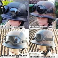 helm retro nazy kulit klasik + kaca mata (vespa,cb,c70)