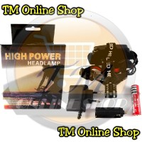 High Power Headlamp 0181 / Senter Kepala Cree Led Police Q5 Zoom Fokus + Charger Adapter (1 Ultrafire 18650 / 3 Baterai AAA)