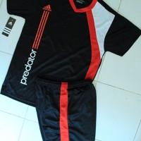 harga Kaos Setelan Adidas Predator Hitam Merah (Futsal,Volly,Olahraga Grosir Tokopedia.com